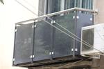 парапет за тераса от инокс и сиво стъкло